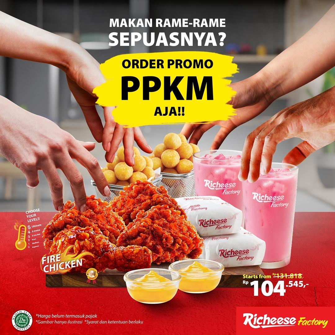 Promo RICHEESE FACTORY PPKM / PROMO PAKET KOMPLIT MANTAP MULAI RP. 104.545,- AJA!