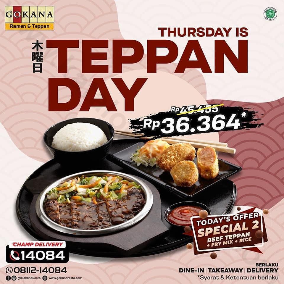 GOKANA Promo THURSDAY is TEPPAN DAY! Harga Spesial Menu Paket Special 2 cuma Rp. 36.364*