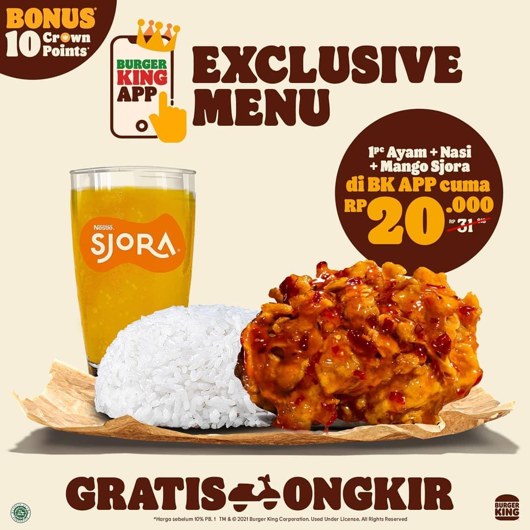 Promo BURGER KING - HARGA SPESIAL MENU EKSKLUSIF PILIHAN khusus pemesanan via BK APP