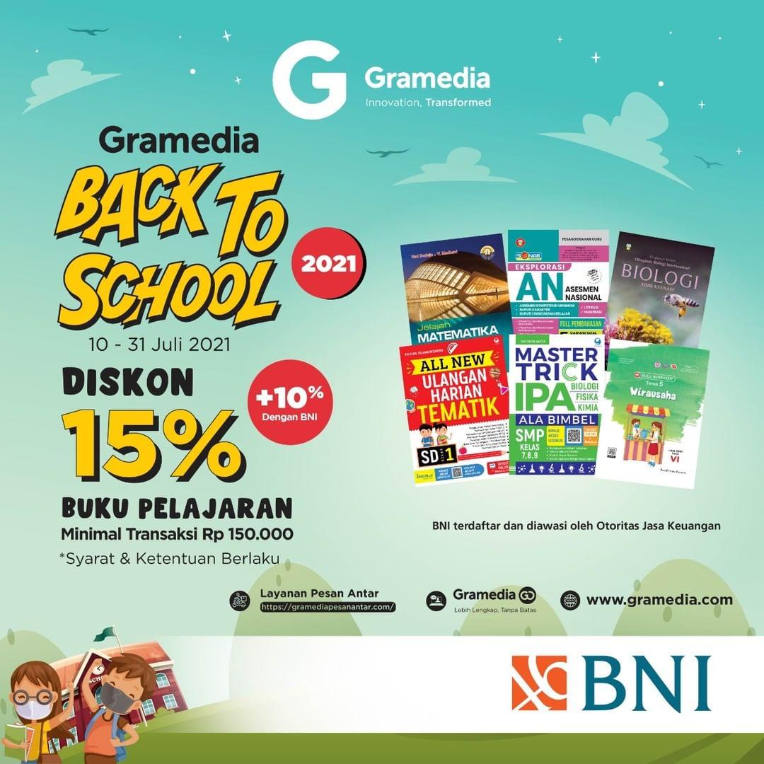 Promo GRAMEDIA DISKON 15%+10% Buku Pelajaran Gramedia dengan Kartu Debit BNI