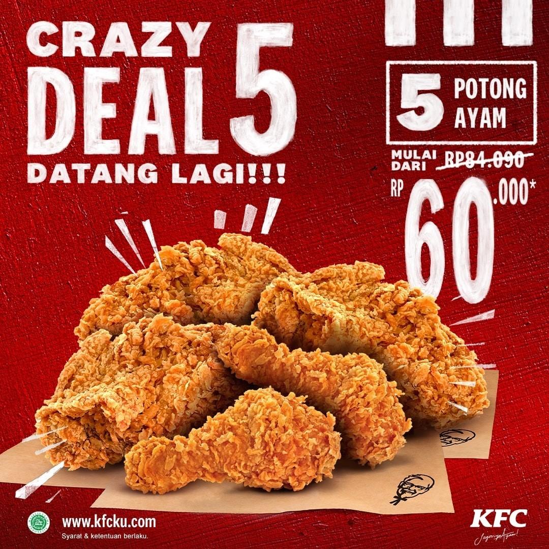 Promo KFC CRAZY DEALS - HARGA SPESIAL Paket 5 Potong Ayam mulai Rp. 60.000