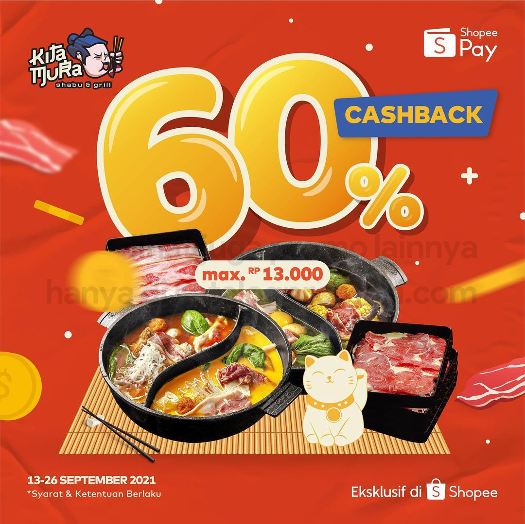 Promo KITAMURA Voucher Deals ShopeePay Cashback 60% berlaku untuk periode pembelian mulai tanggal 13-26 September 2021