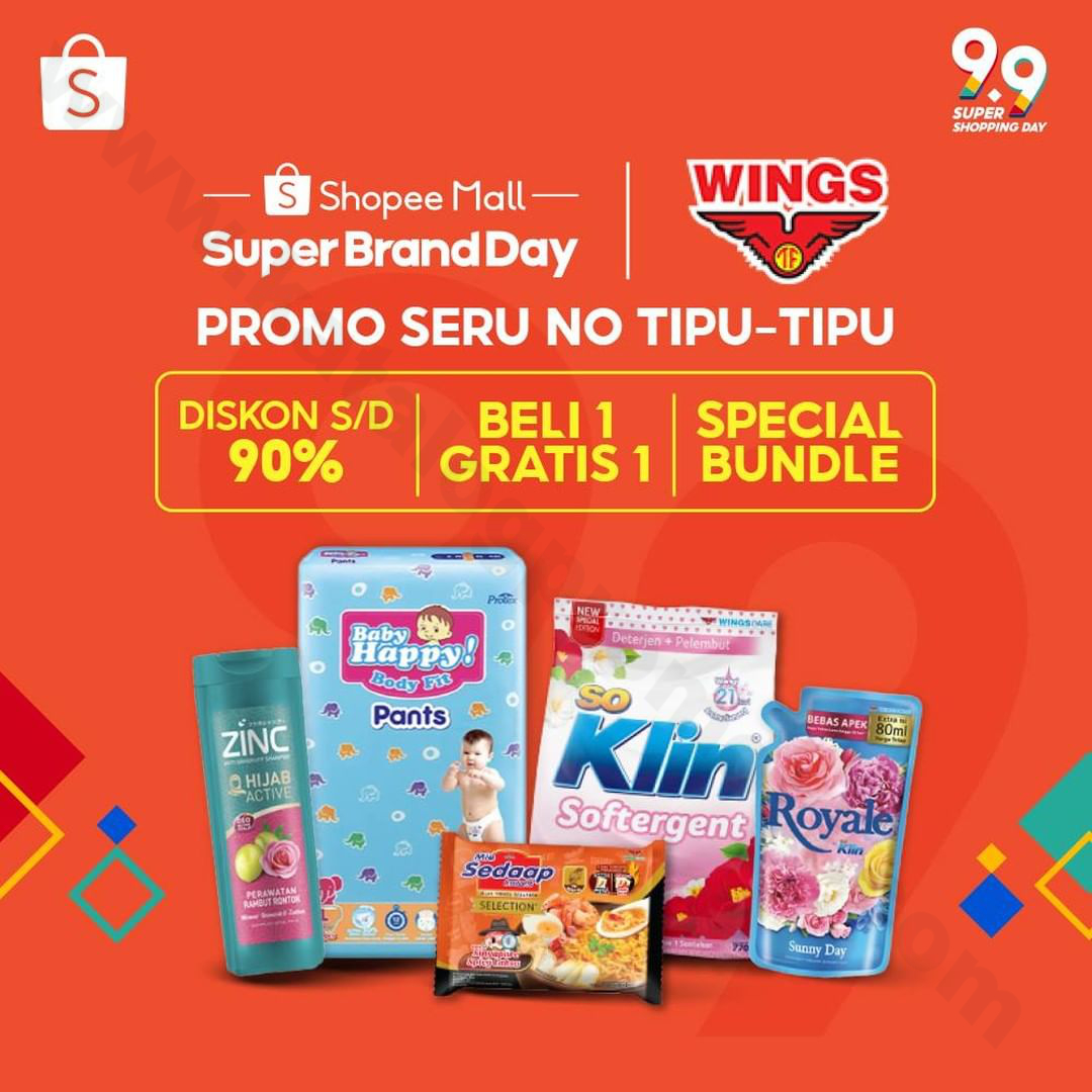<div>WINGS Super Brand Day at Shopee Mall – DISKON S/D 90%, BELI 1 GRATIS 1 & SPECIAL BUNDLE!</div>