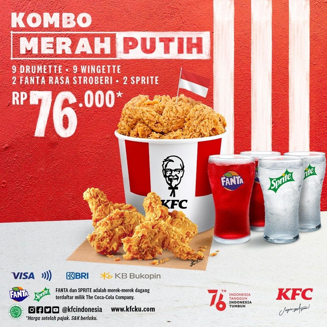 Promo KFC 17 AGUSTUS SPESIAL HUT RI 76 – KOMBO MERAH PUTIH cuma Rp. 76.000