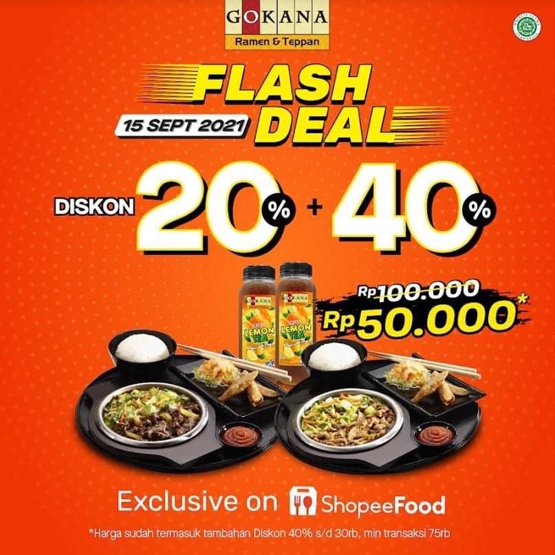 Promo GOKANA FLASH SALE - 2 makanan + 2 minuman hanya Rp 50.000 khusus pemesanan via SHOPEEFOOD
