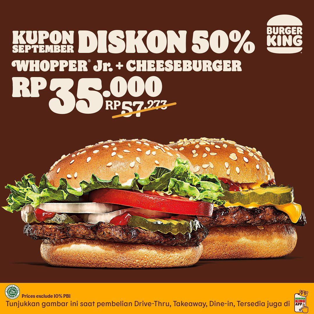 KUPON BURGER KING khusus untuk bulan SEPTEMBER 2021 - KUPON HEMAT hingga 50% berlaku sd. tanggal 30 September 2021