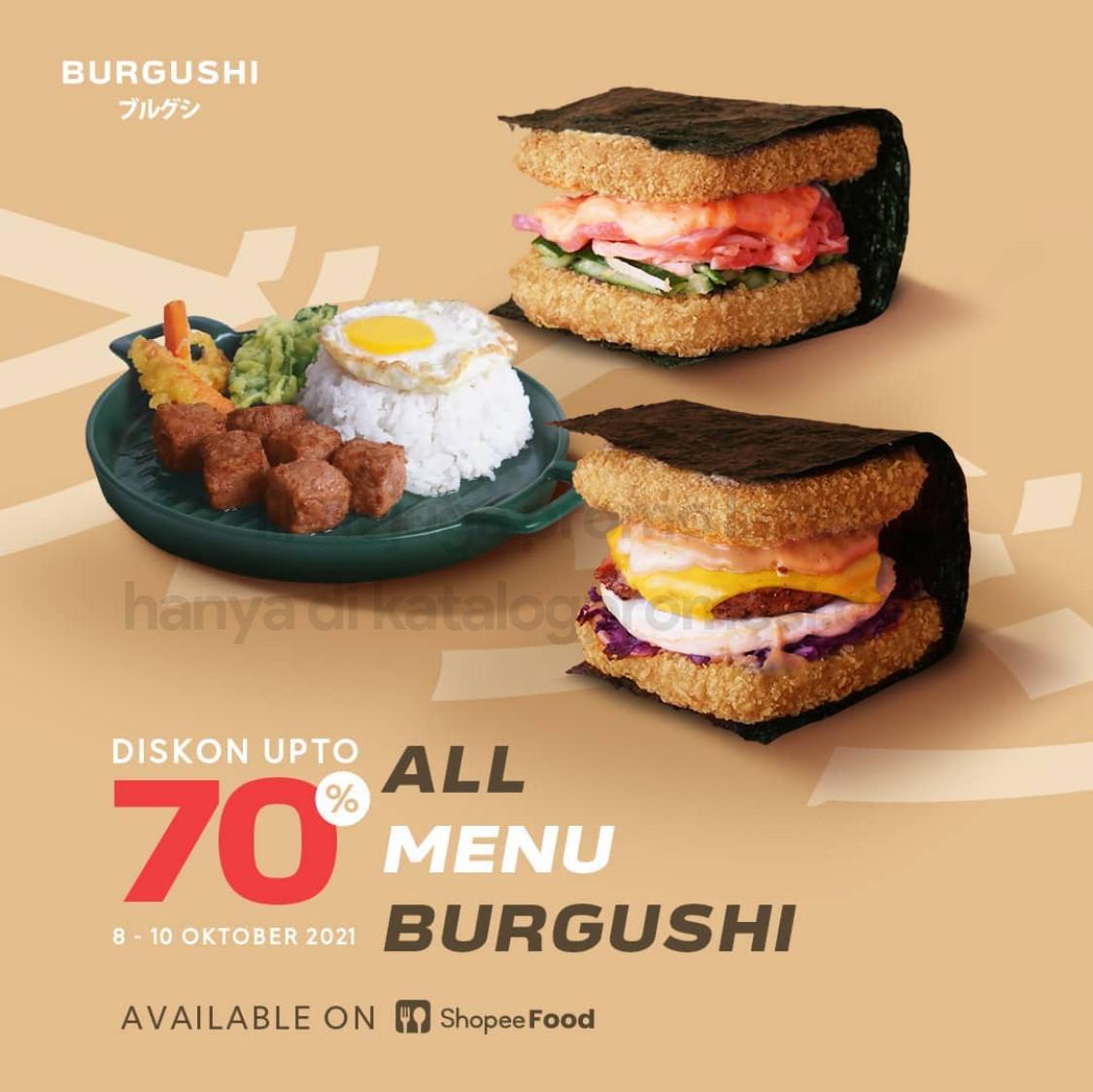Promo BURGUSHI - DISKON hingga 70% untuk pemesanan via SHOPEEFOOD