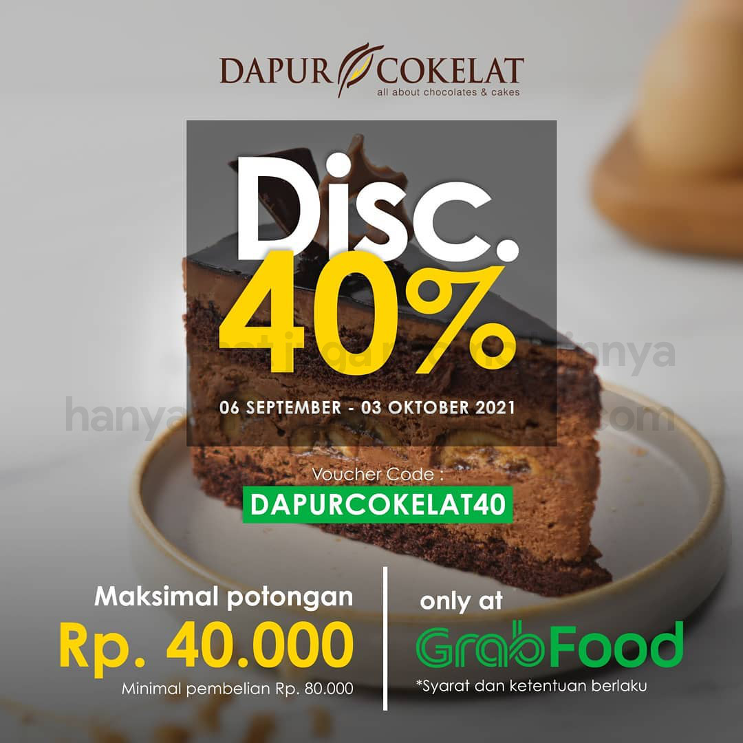 Promo DAPUR COKELAT SURABAYA - DISKON hingga Rp. 40.000 khusus pemesanan via GRABFOOD