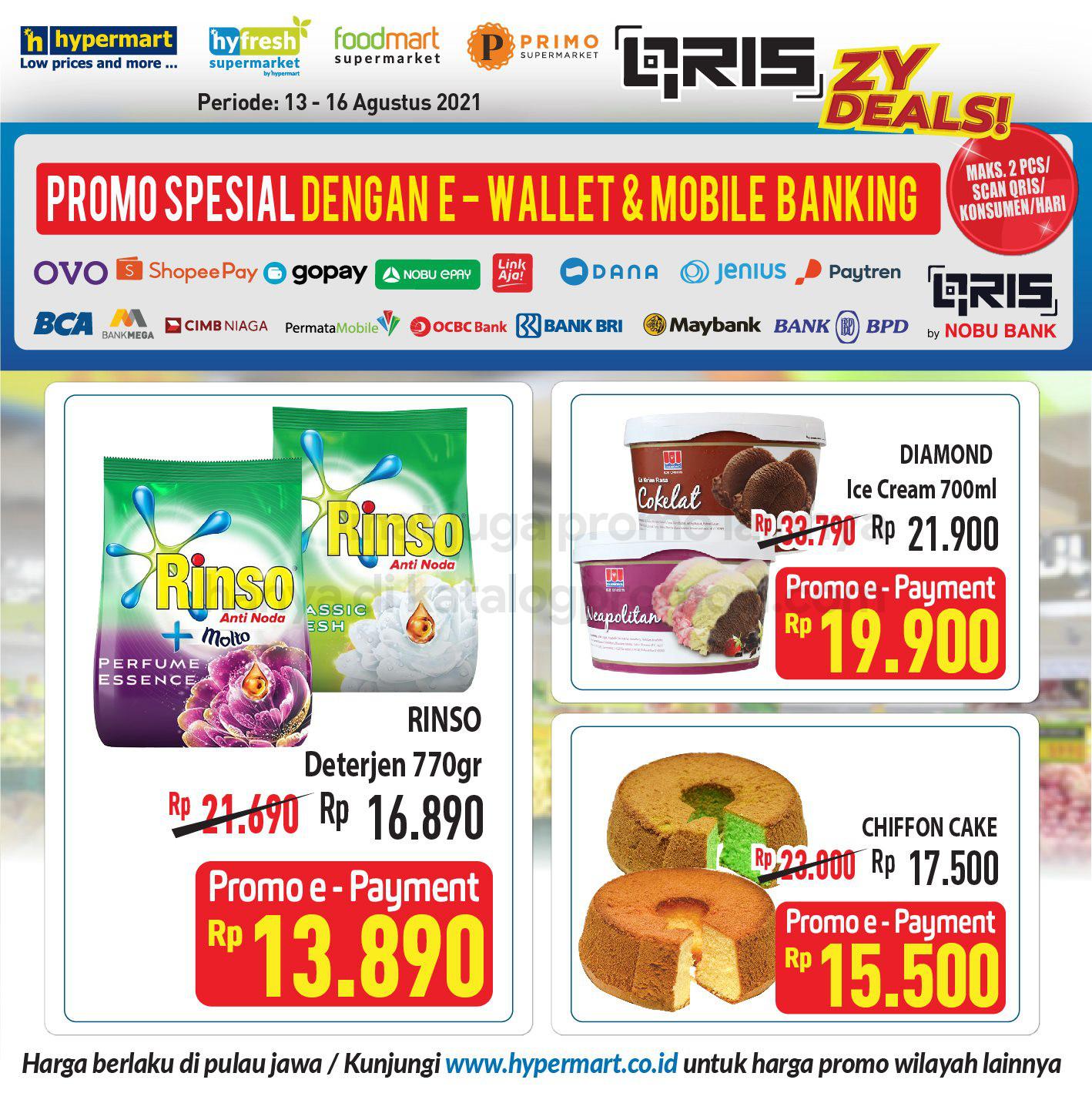 HYPERMART Promo HARGA SPESIAL bayar pakai E-Wallet dan Mobile Banking periode 13-16 Agustus 2021