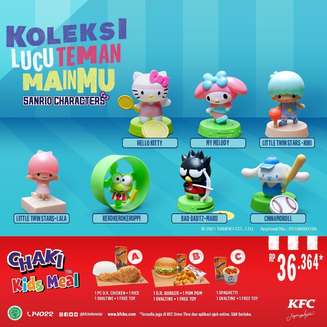 Promo KFC Chaki Kids Meal  – GRATIS Koleksi Mainan Karakter SANRIO
