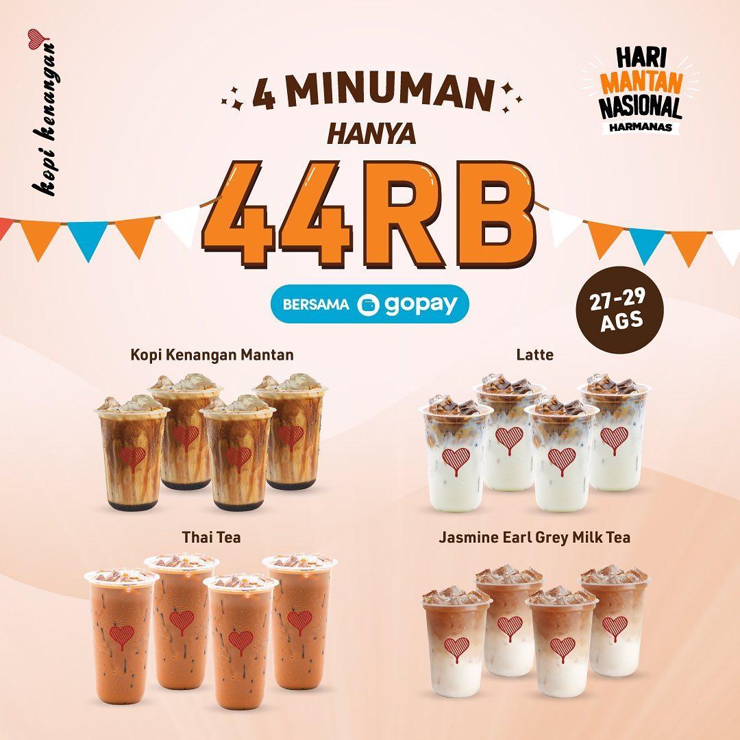 KOPI KENANGAN Promo Beli 4 Minuman Hanya 44 Ribu Khusus Transaksi pakai GOPAY, berlaku mulai tanggal 27-29 Agustus 2021