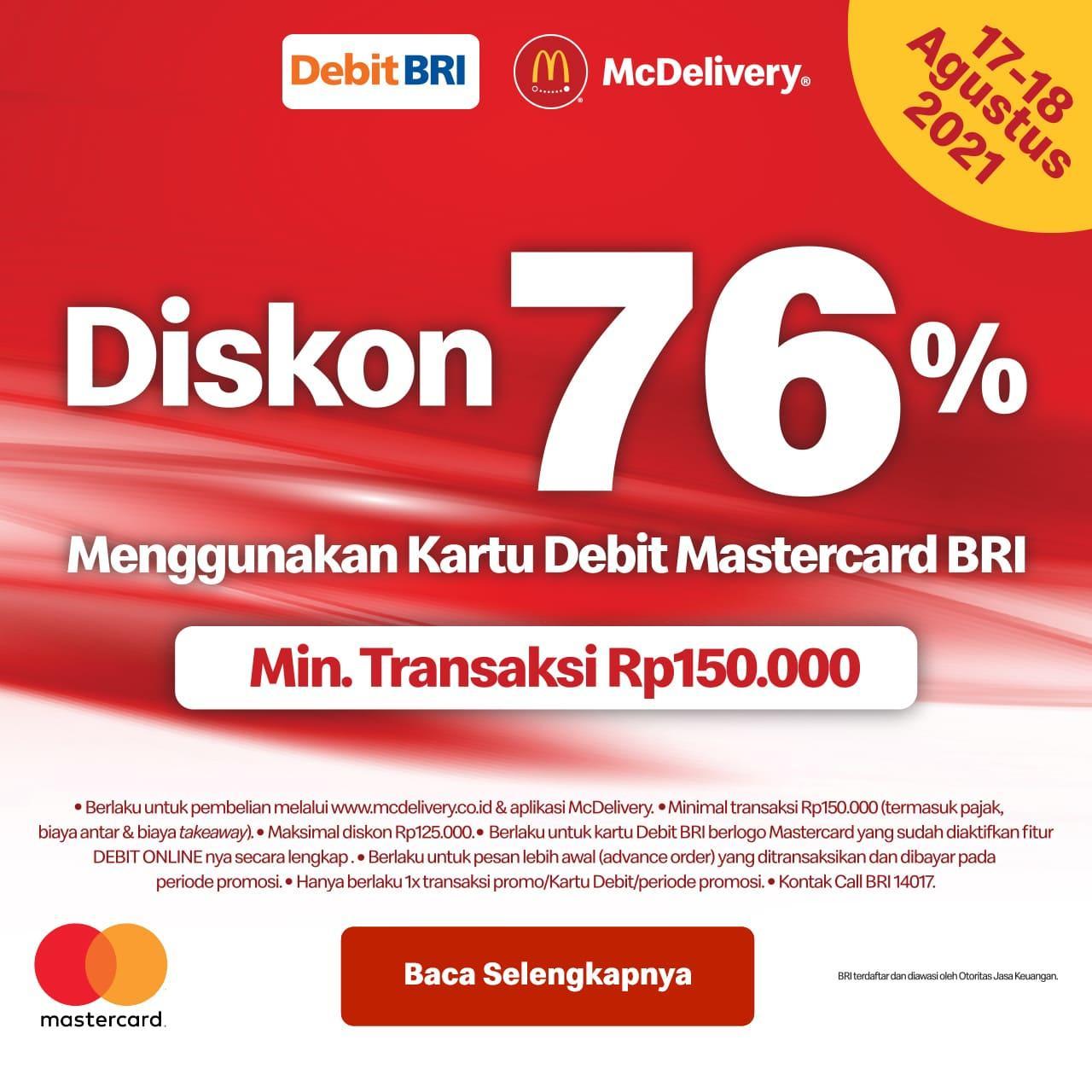 Promo 17 agustus McDonalds - Diskon 76% dengan Kartu Debit BRI berlogo Mastercard