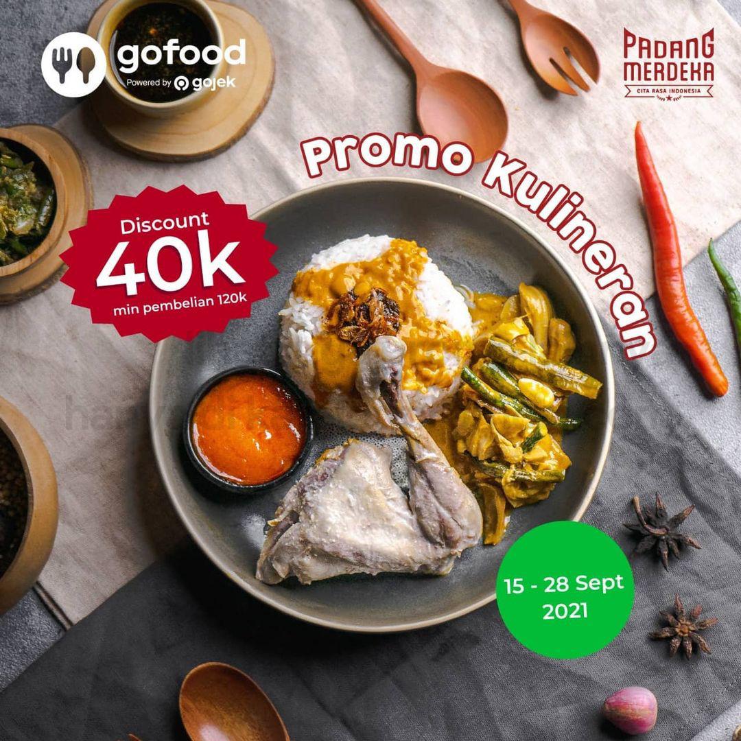 Padang Merdeka & Nasi Kapau Merdeka Promo Kulineran - Diskon Hingga Rp 40.000 khusus pemesanan via GoFood, berlaku tanggal 15-28 September 2021