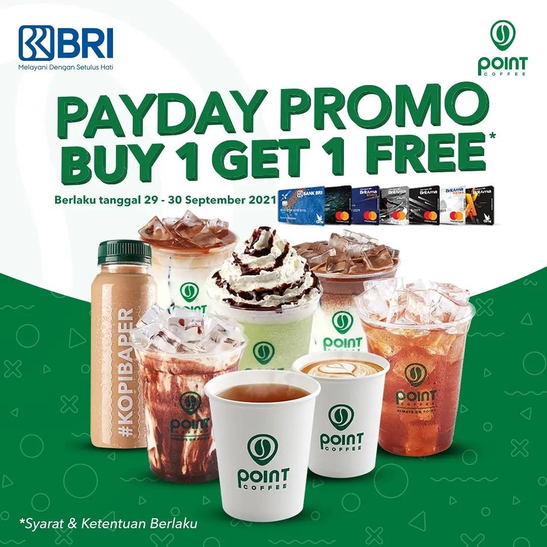 POINT COFFEE Promo BELI 1 GRATIS 1 dengan KARTU DEBIT BRI