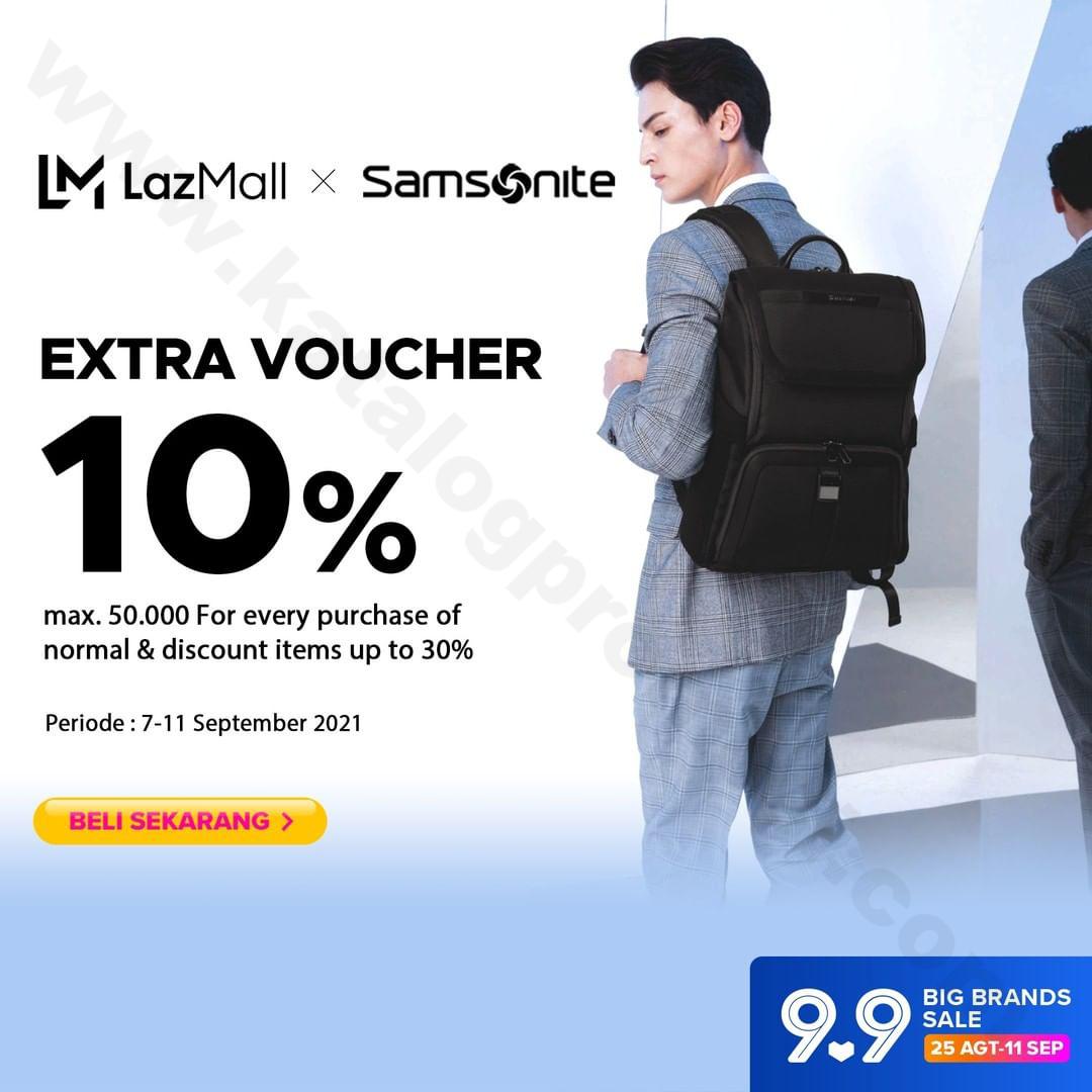 Samsonite Promo Extra Voucher 10% Exclusive at Samsonite Flagship Store Lazada