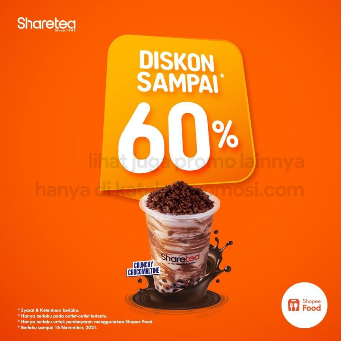 SHARETEA Promo DISKON 60% khusus pemesanan via SHOPEEFOOD