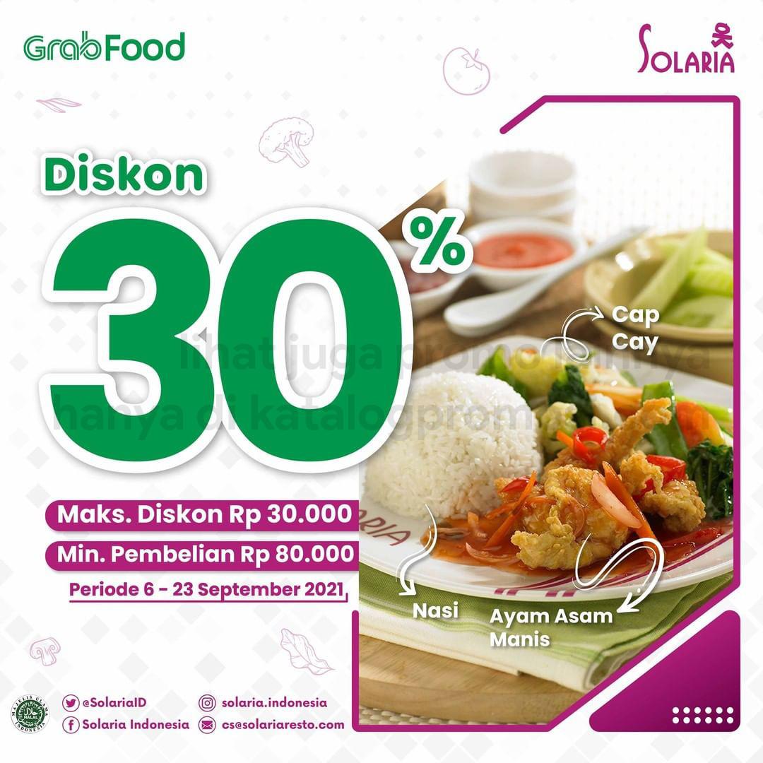 Promo SOLARIA DISKON 30% untuk transaksi pemesanan via GRABFOOD