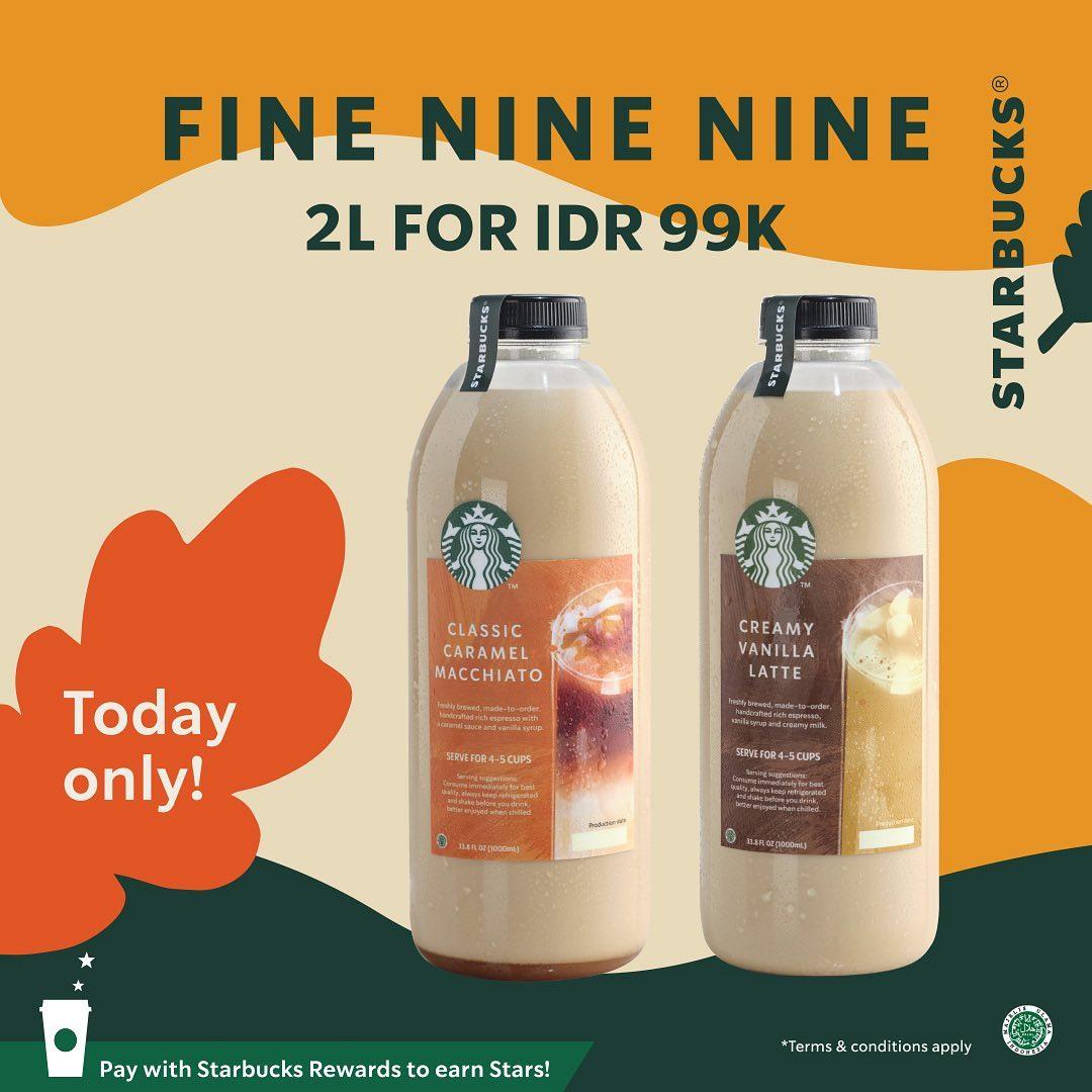 Promo STARBUCKS 9.9 BIG SALE - Beli 2 Minuman 1 Liter cuma Rp. 99.000