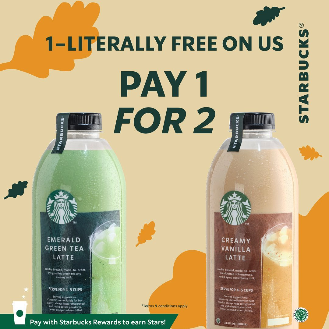 Promo STARBUCKS FLASH SALE - BELI 1 GRATIS 1 untuk minuman 1 Liter