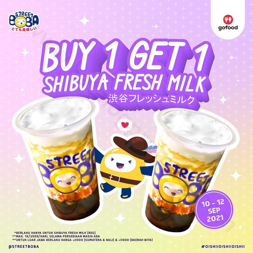STREET BOBA Promo Buy 1 Get 1 Shibuya Fresh Milk Khusus Pemesanan Via GOFOOD