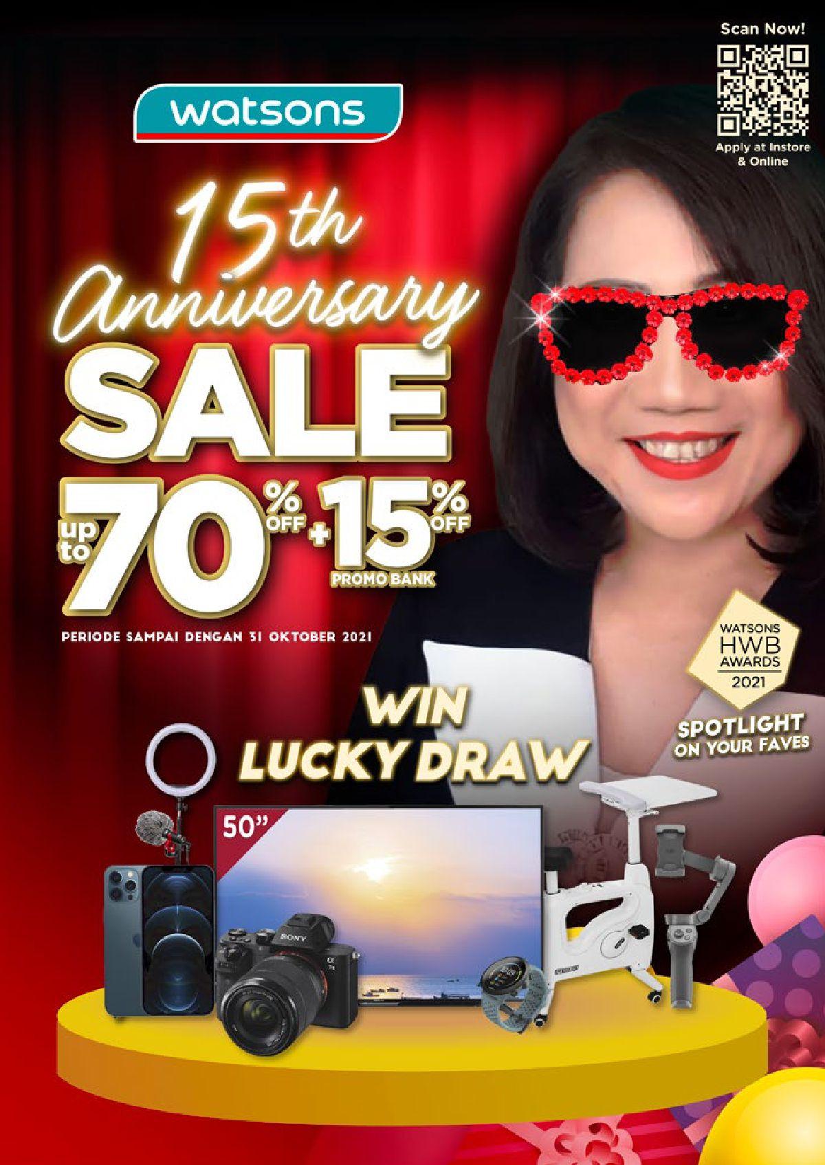 Katalog Belanja Watsons Terbaru - Watsons 15th Annivesary Sale   Discount Up to 70% + 15% on your favorite products