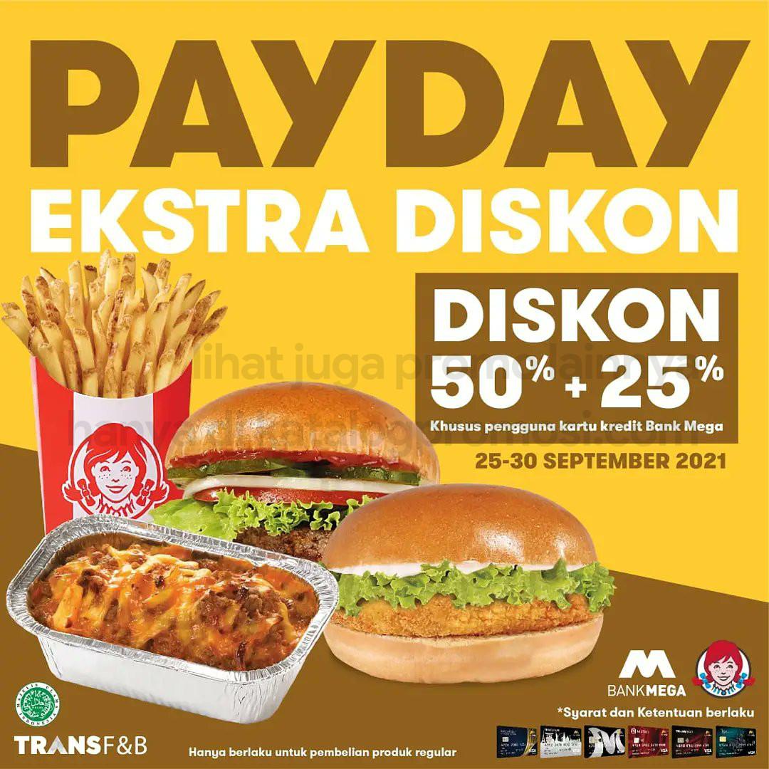 PROMO WENDYS PAYDAY - Ekstra Diskon 50% + 25% dengan KARTU KREDIT BANK MEGA, berlaku tanggal 25-30 September 2021
