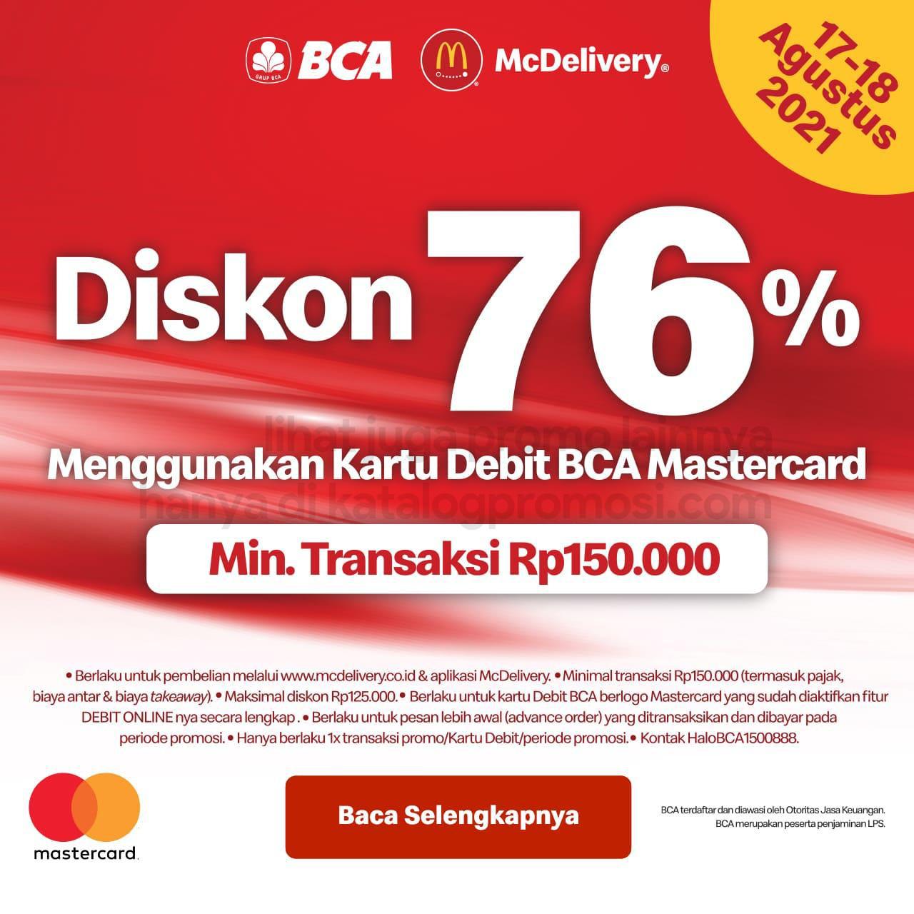 Promo McDonalds Spesial 17 Agustus - Diskon 76% dengan Kartu Debit BCA berlogo Mastercard