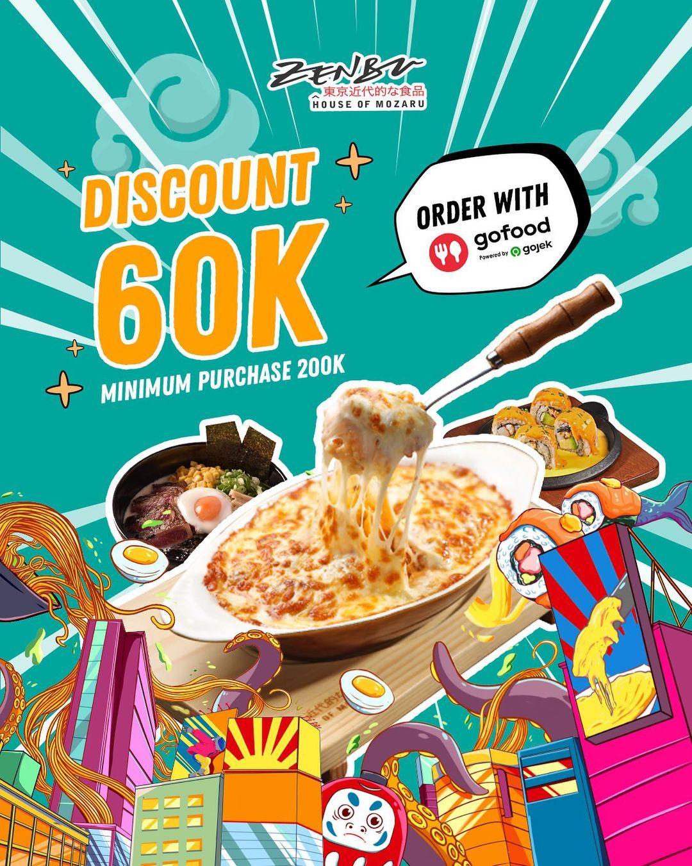 Promo ZENBU DISKON hingga 60.000 khusus pemesanan via GOFOOD berlaku sd. tanggal 28 September 2021