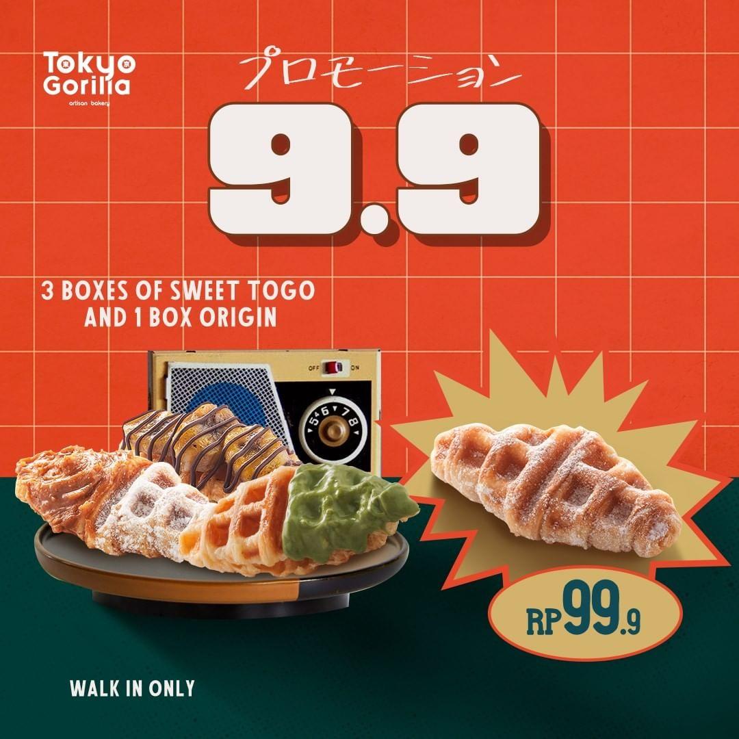 Promo TOKYO GORILLA BELI 3 Box Sweet Package dan 3 Java Latte/ 1 Box Origin hanya Rp99.999 berlaku tanggal 09-12 September 2021