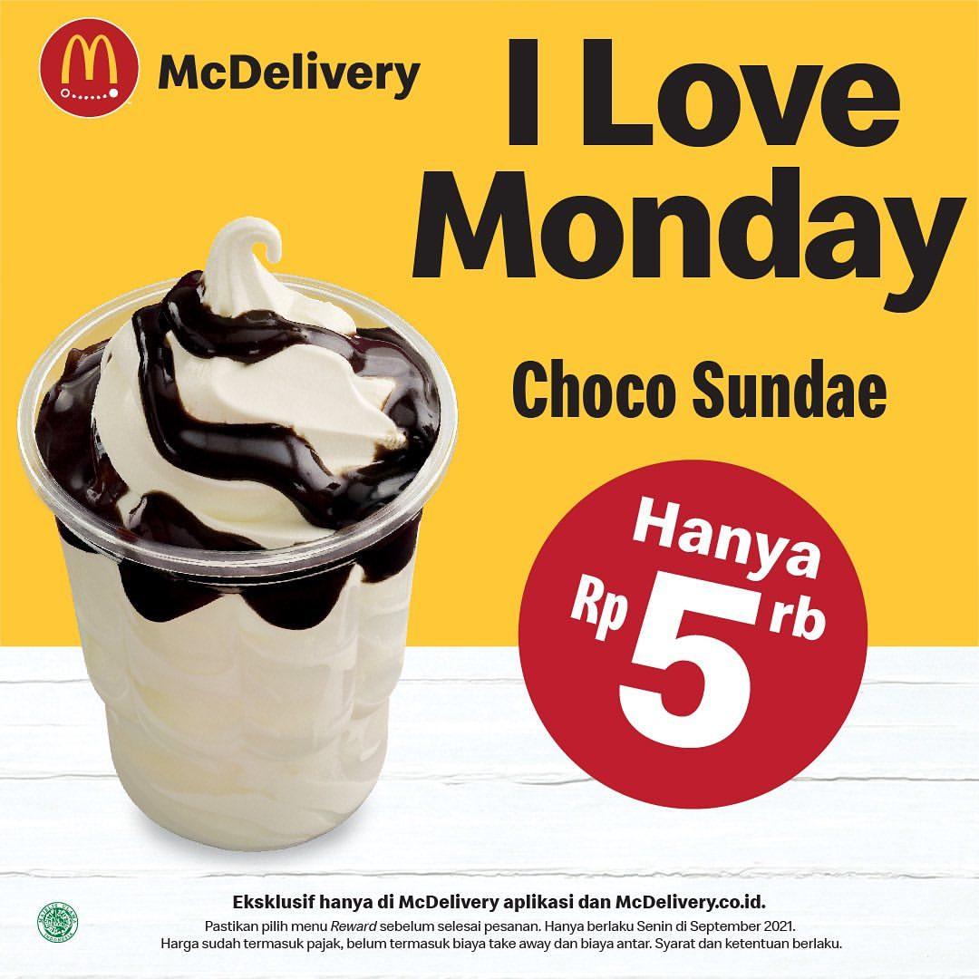 Promo McDonalds I LOVE MONDAY - HARGA SPESIAL Choco Sundae hanya Seharga Rp5.000,-