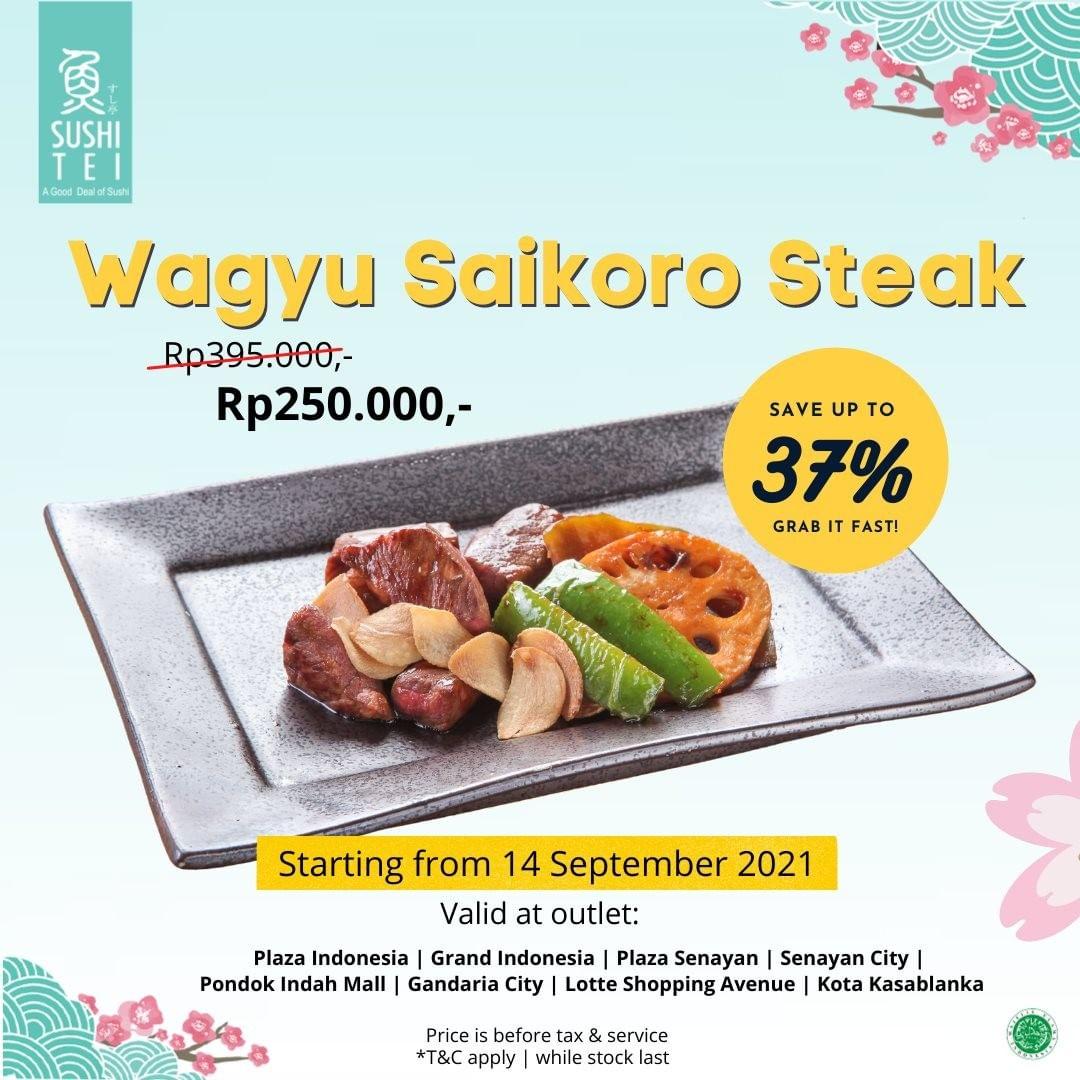 Promo SUSHI TEI DISKON hingga 37% untuk Wagyu Saikoro Steak