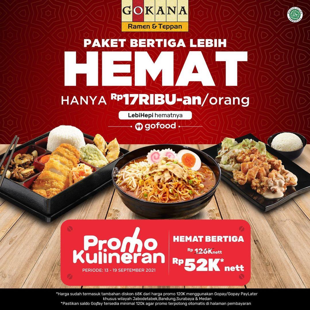 GOKANA Promo GOFOOD KULINERAN - Harga Spesial Paket Hemat Bertiga hanya Rp 52.000* Nett