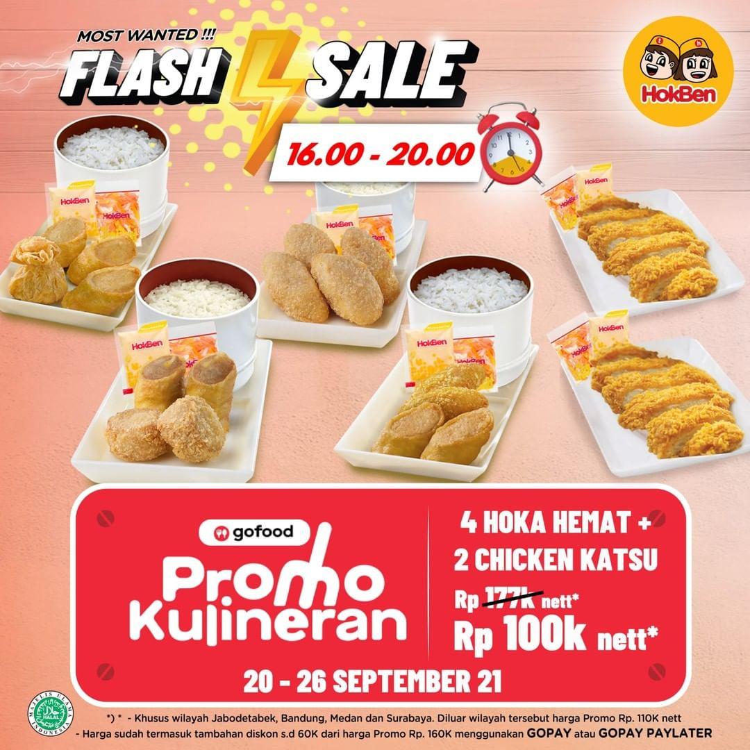 Promo HOKBEN GOFOOD FLASH SALE - 4 Hoka Hemat + 2 Chicken Katsu hanya cuma Rp. 100.000* nett