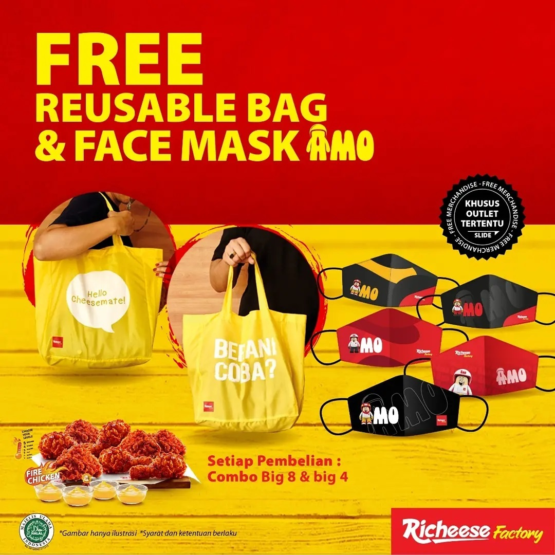 Promo RICHEESE FACTORY FREE REUSABLE BAG + FACE MASK!