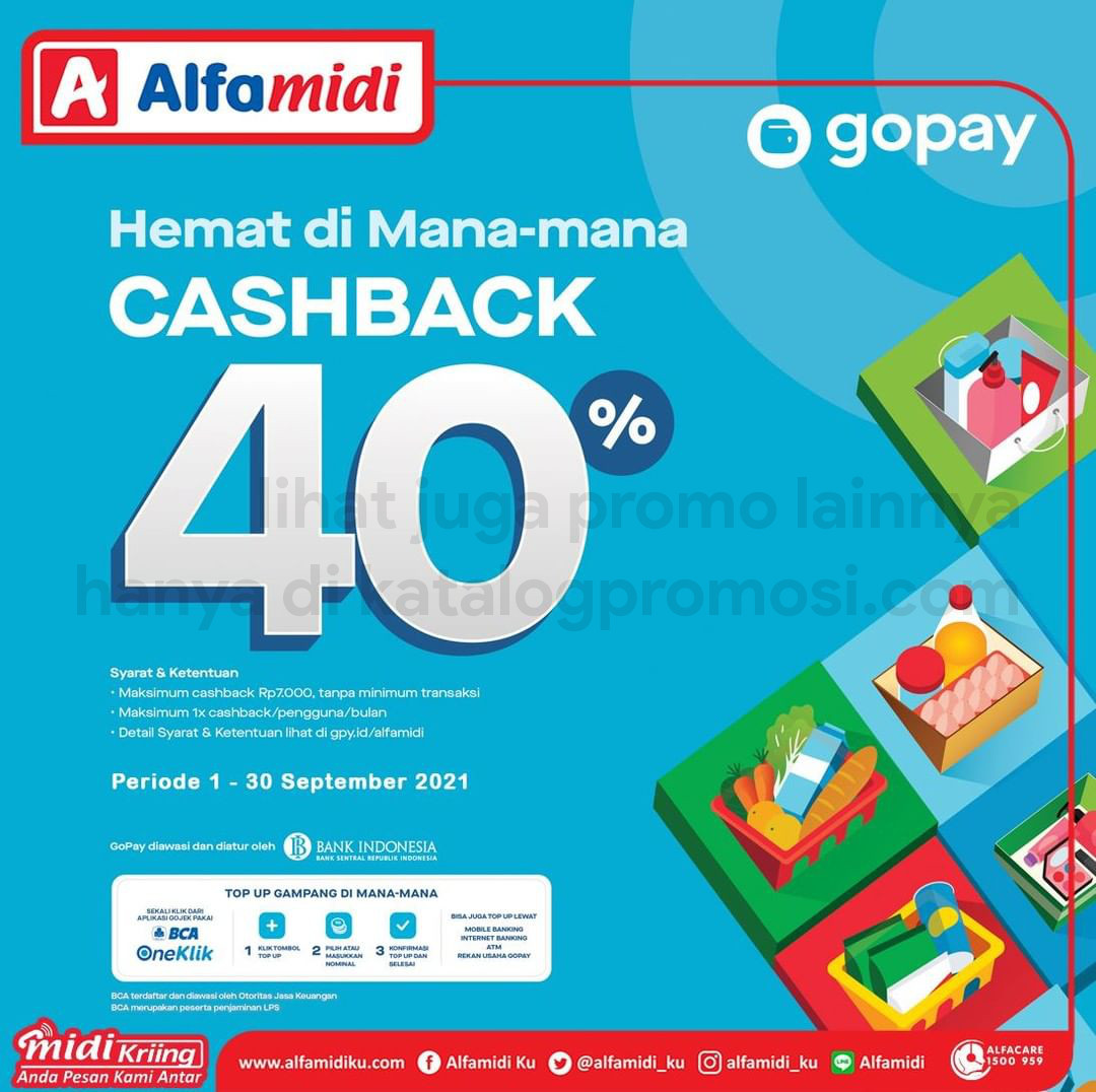 Promo ALFAMIDI CASHBACK 40% untuk transaksi pakai GOPAY
