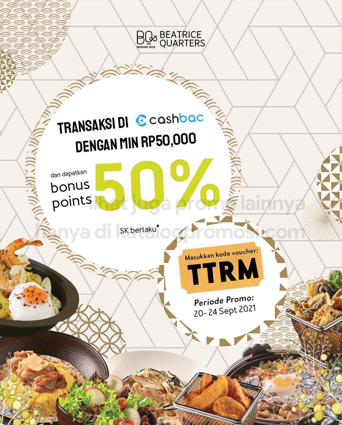 Promo Beartice Quarters BONUS POINT hingga 50% KHUSUS transaksi pakai CASHBAC APP