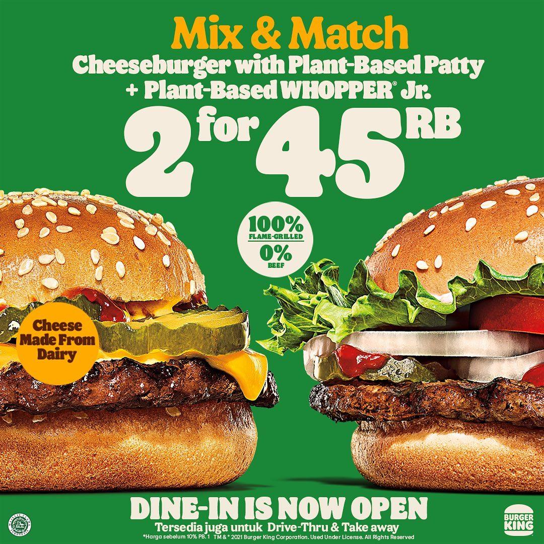 Promo BURGER KING PAKET 2 FOR 45RIBU untuk Plant-Based Patty Burger
