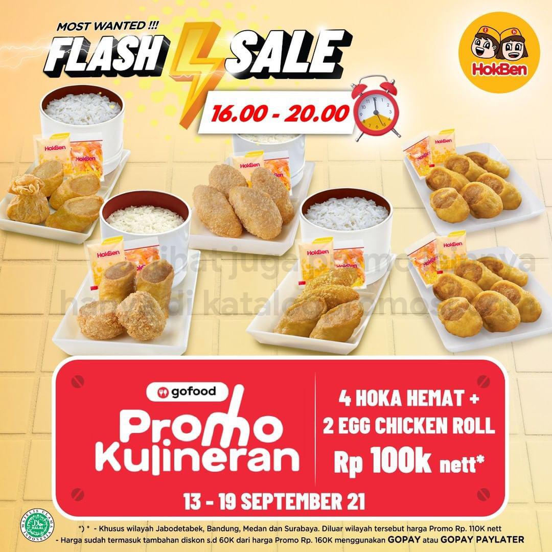 Promo HOKBEN GOFOOD FLASH SALE - 4 Paket Hoka Hemat + 2 Egg Chicken Roll cuma Rp. 100.000* nett