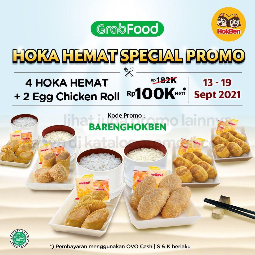 Promo HOKBEN SPECIAL PRICE - Paket 4 Paket Hoka Hemat + 2 Porsi Egg Chicken Roll cuma Rp. 100.000* khusus pemesanan via GRABFOOD berlaku tanggal 13-19 September 2021