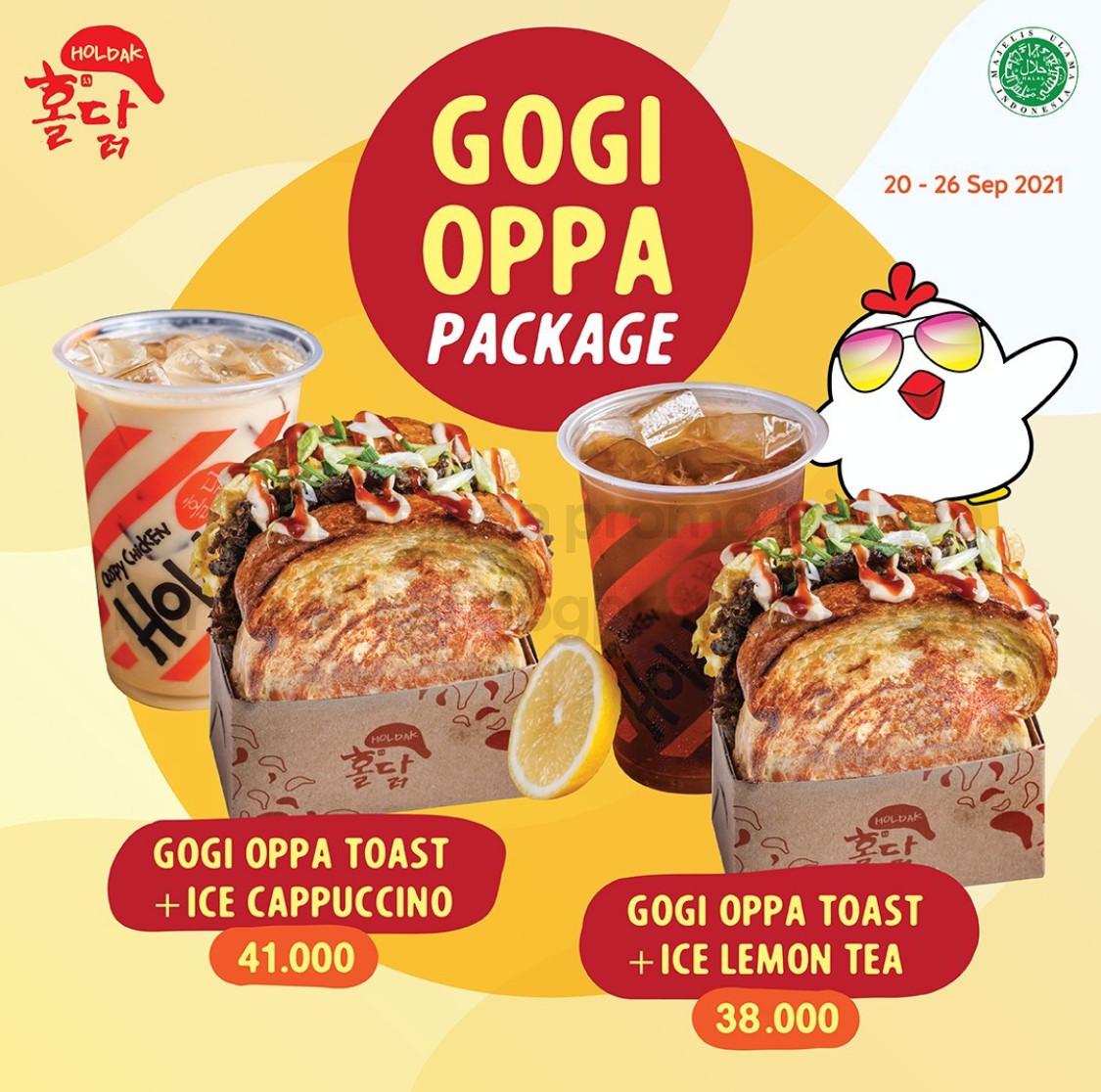 Promo HOLDAK PAKET BUNDLING GOGI OPPA TOAST + ICE LEMON TEA / ICE CAPPUCCINO mulai Rp. 38RIBUAN AJA