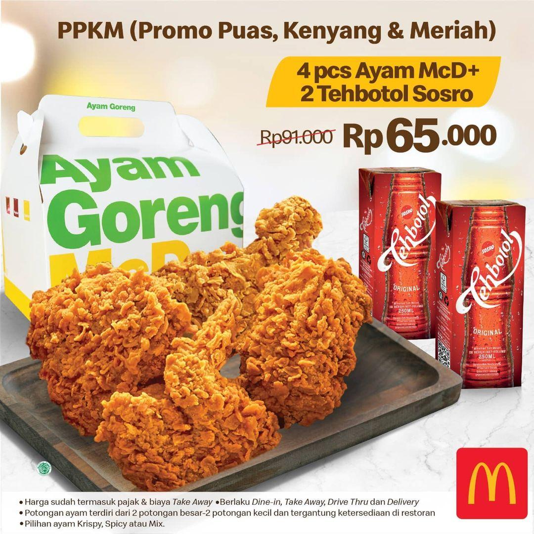 Promo MCDONALDS Promo Puas Kenyang dan Meriah - Paket 4 Ayam McD dan 2 Tehbotol Kotak hanya Rp 65.000