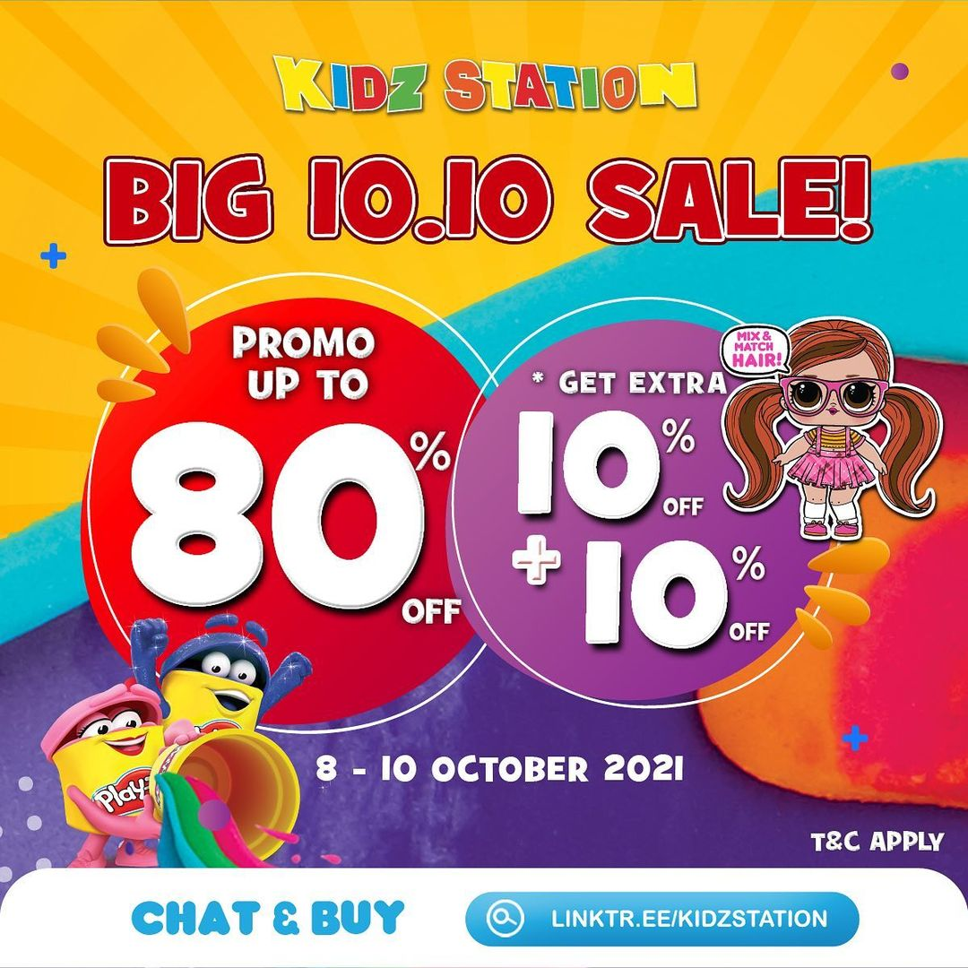 Promo Kidz Station BIG 10. 10 SALE ! DISKON hingga 80% + tambahan diskon 10% + 10%*