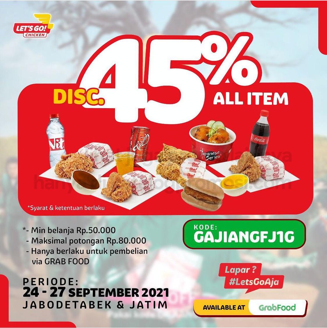 LET'S GO CHICKEN Promo GAJIAN - DISKON hingga 45% khusus pemesanan via GRABFOOD