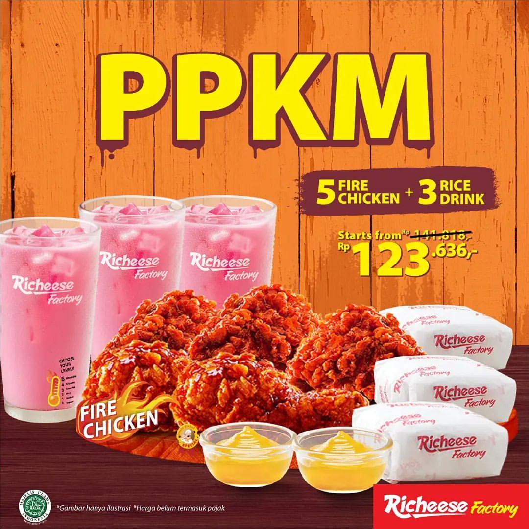 RICHEESE FACTORY Promo PPKM 5 Ayam + 3 Nasi + 3 Minuman Cuma Rp 123.636