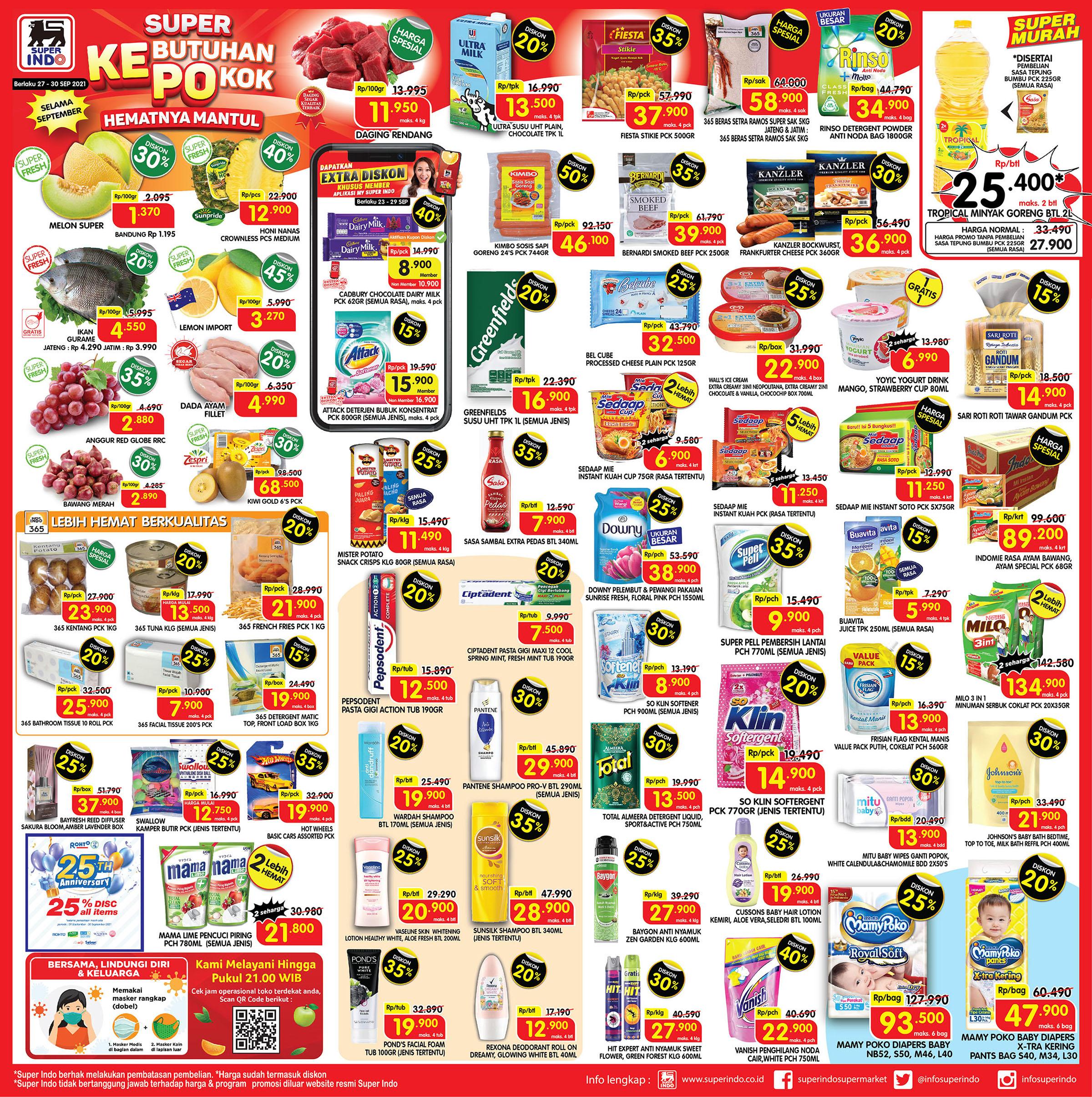 Promo Superindo Katalog Awal Pekan (Weekday) periode 27-30 SEPTEMBER 2021