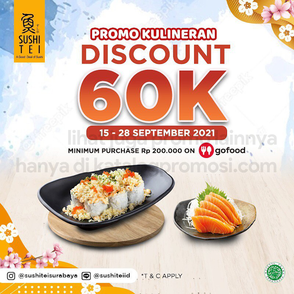 SUSHI TEI Promo DISKON Rp 60.000* khusus pemesanan via GOFOOD