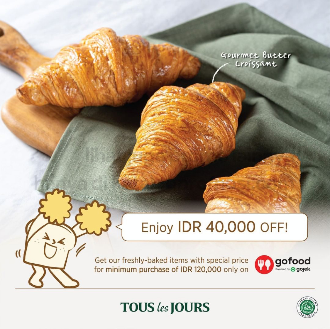 Promo TOUS LES JOURS DISKON hingga Rp. 40.000 khusus pemesanan via GOFOOD