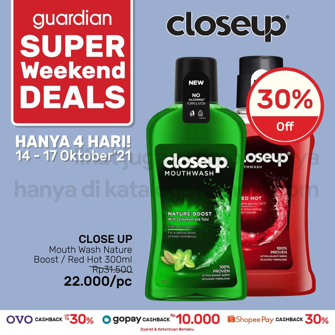 Promo GUARDIAN Super Weekend Deals up to 50% off periode 14-17 Oktober 2021