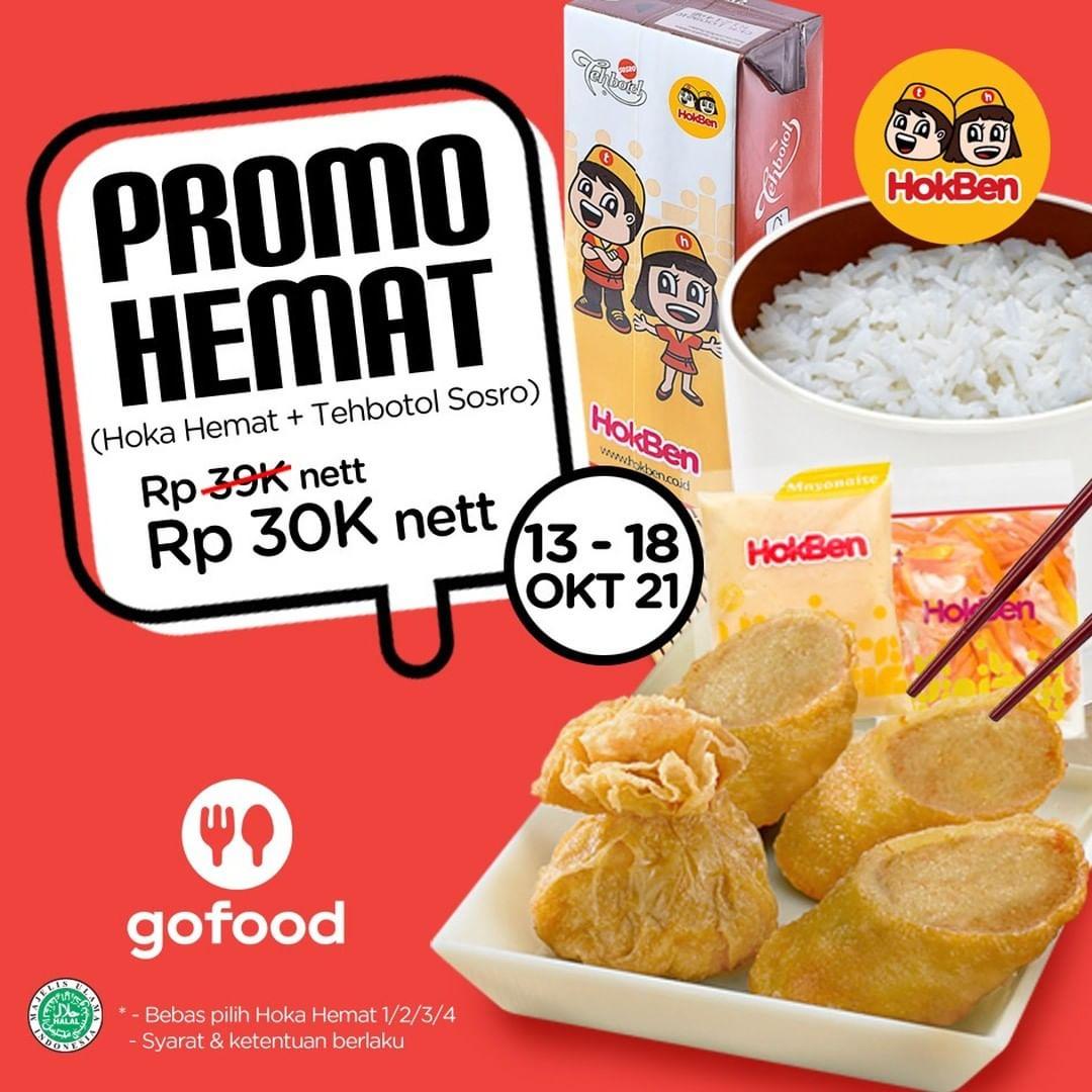 Promo HOKBEN GOFOOD SPECIAL - Paket Hoka Hemat + Teh Kotak cuma Rp. 30.000 berlaku mulai tanggal 13-18 Oktober 2021