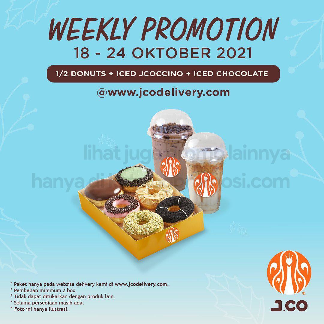 Promo JCO Minggu Ini | Weekly Promotion - 1/2 lusin JCO DONUTS + Iced JCOCCINO + Iced Chocolate hanya Rp 100.000*